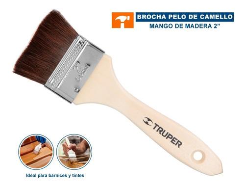 Imagen 1 de 5 de Brocha Pelo De Camello, Mango De Madera, 2' Truper 12468