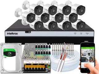 Kit Cftv Intelbras 12 Cameras 3230b 1080p 30mts 2m Dvr 16 Ch