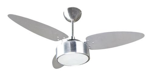 Ventilador de teto Ventisol Fharo  alumínio com 3 pás cor alumínio e tabaco de mdf, 1050mm de diâmetro 127V