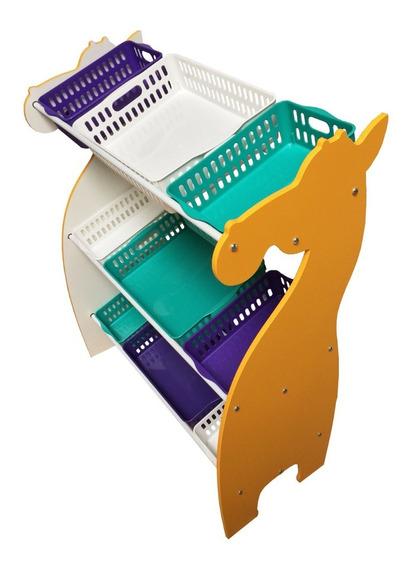 Organizadora Brinquedos Girafa Com Cestos Coloridos