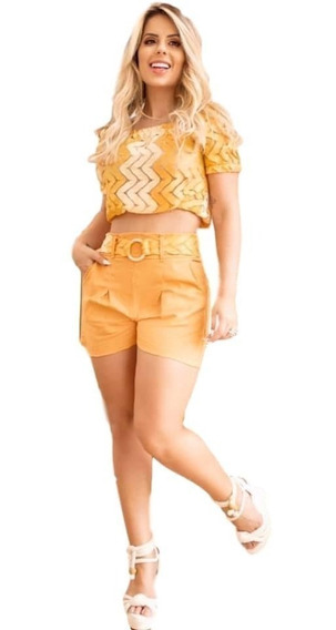 Conjunto Feminino Short Curto Cintura Alta Cinto + Blusa