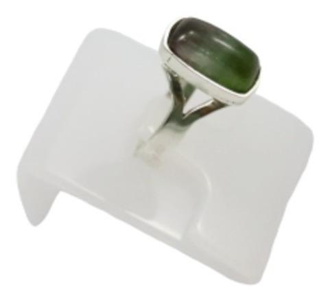 Anel Em Prata 950 Com Pedra Turmalina Olho De Gato