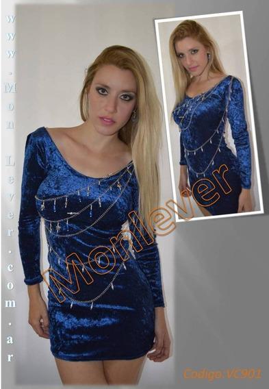 Vestido Corto De Shantumg De Seda Elastizada Azul