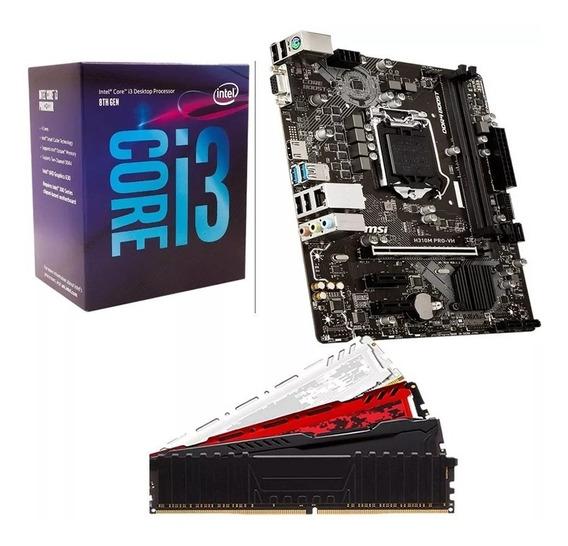 Kit Gamer 8º Ger Intel Core I3 8100 + H310m + 4gb Promoção