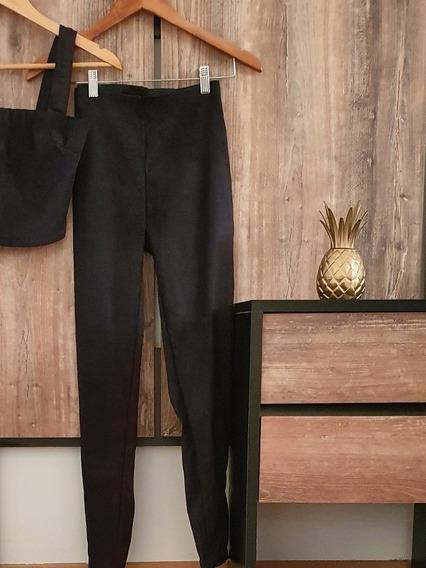 Pantalón Gamuzado Tiro Alto Chupin Negro