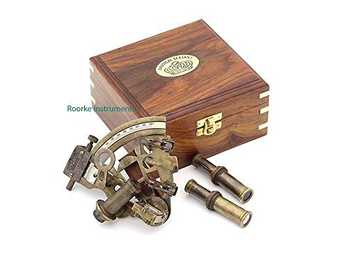Sextante de bolsillo Latón Antiguo Caja de Madera Vintage Marina Náutico de Navegación