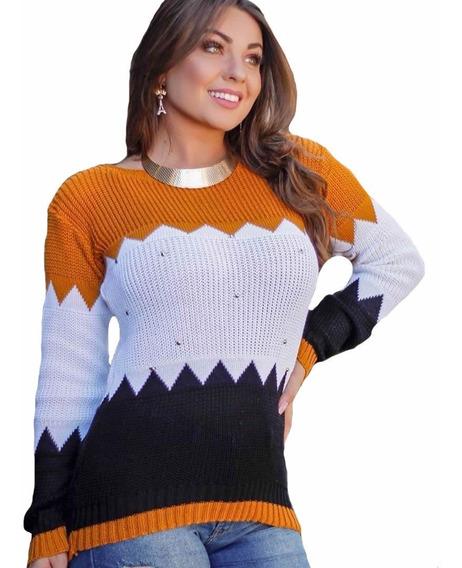 Blusa Lã Feminina Tricot Tricô Frio Inverno Bordado Kinomo