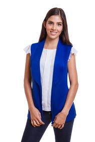 Chaleco Tipo Kimono Azul De Dama Elegante Devendi Denim Co