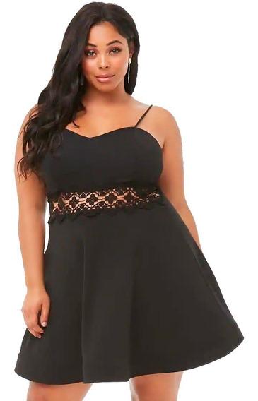 Vestido Fiesta Flare Dress Detalle Encaje Y Forever 21 Plus