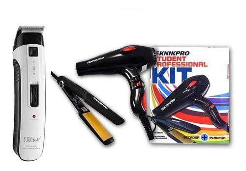 Máquina Patillera Inalambrica Barber + Kit Planchita Secador