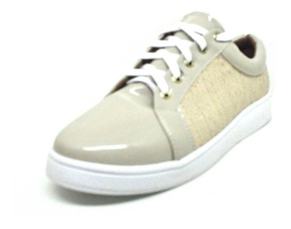 Sapatos Femininos Tenis Casual Verniz Areia Dani K