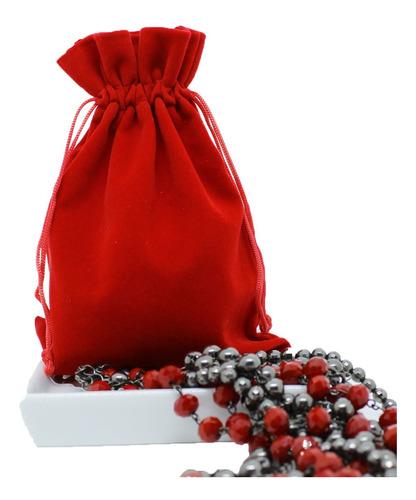 Imagem 1 de 4 de 10 Saquinhos De Veludo Vermelho Joalheria - 10 X 12 Cm