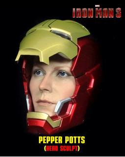 Pepper Potts: Iron Man 3. Cabeza 1/6. Female Head Sculpt.