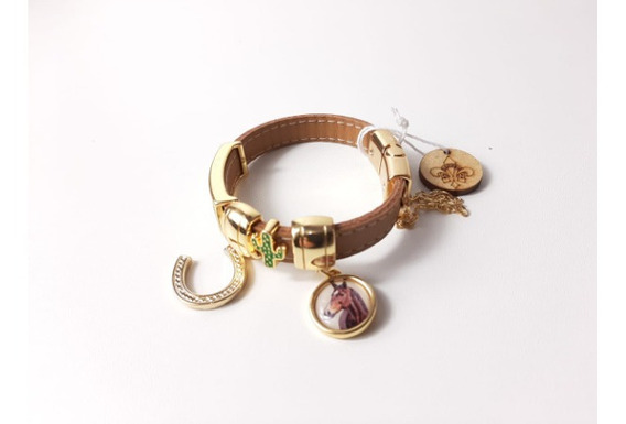 Pulseira Bracelete Flor De Lis Couro Semi Joia Ferradura 39