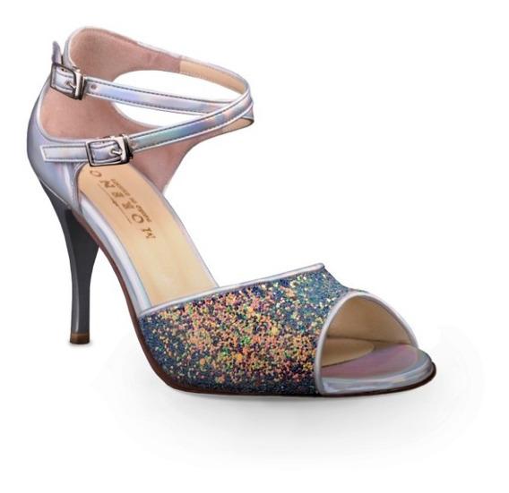 Zapatos De Tango, Salsa, Baile Espejo Y Glitter Verde