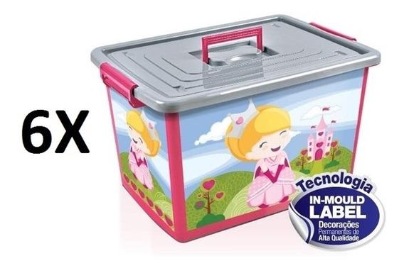 Kit 6 Baú Caixa Organizadora 50 Litros Infantil Rosa Com Rod
