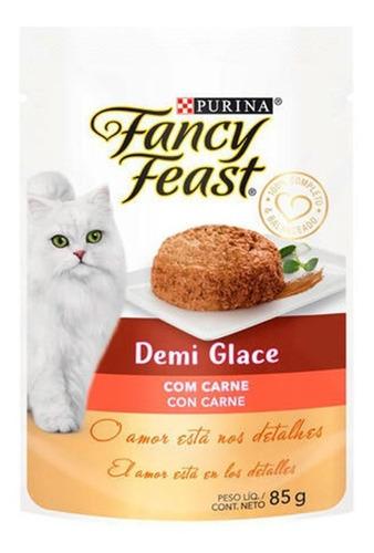 Racão Úmida Fancy Feast Demi Glace Carne Sachê 10x85gr