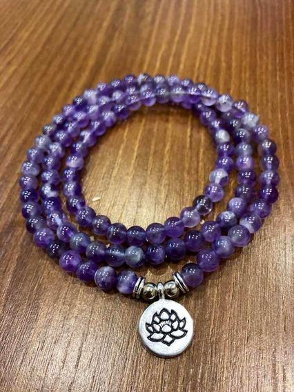 Japamala Ametista Pedra Natural 108 Contas Terço Budismo