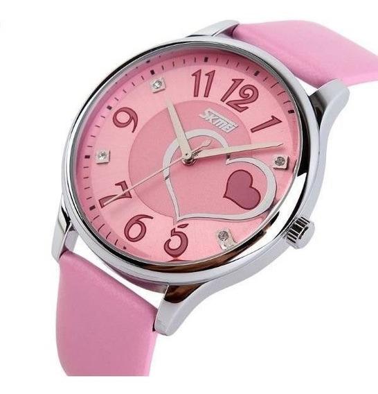 Relógio Feminino Pulseira De Couro Na Cor Rosa Para Meninas