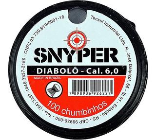 Chumbinho Munição Carabina Pressão Snyper Diabolô 6.0mm 100u
