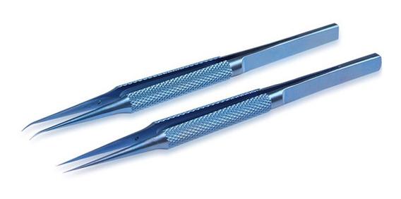 Pinça Antiestática Titanio Azul Reta / Curva Reparo Nova