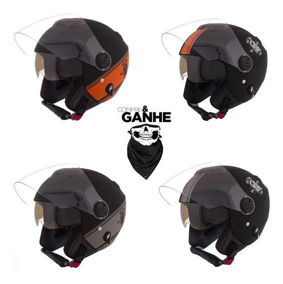Capacete Custom New Atomic Skull Riders Fosco Viseira Solar