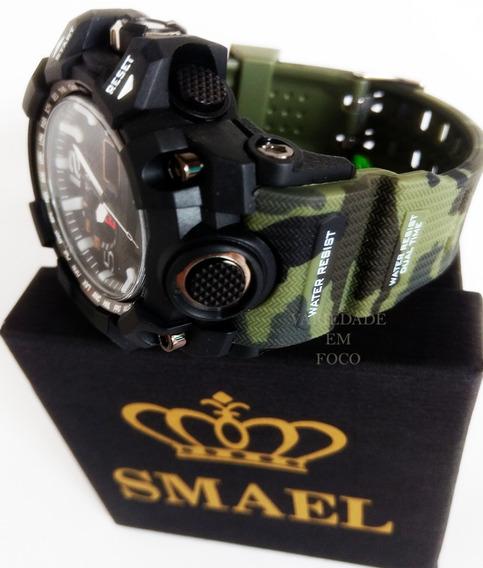 Relógio Smael 1545 Original Camuflado Militar Prova D´ Água