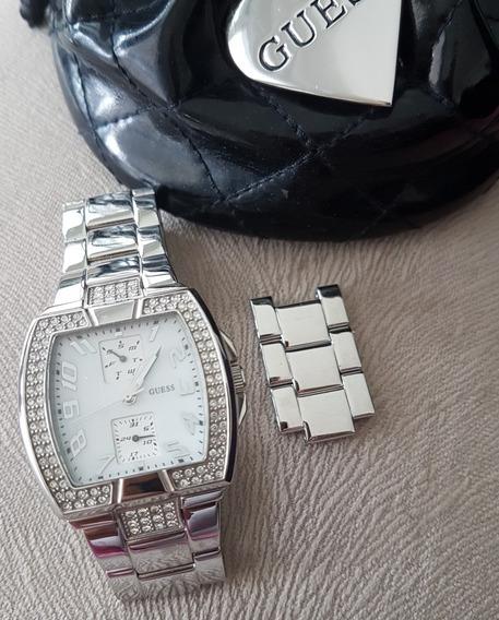 Relógio Guess Feminino Quadrado Prata Com Pedrinhas Tam M