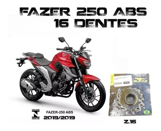 Pinhão Durag 16 Dentes Yamaha Nova Fazer 250 Abs 2018/19/20