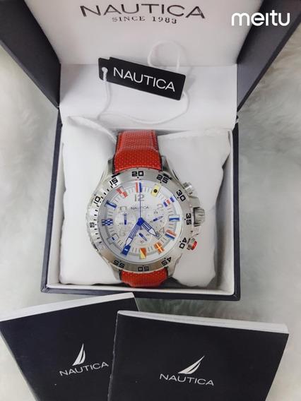Relógio W64p Branco - Laranja Nautica Couro N16695g Oferta