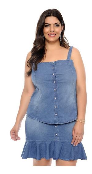 Conjunto Jeans Saia E Blusa Plus Size Com Babado