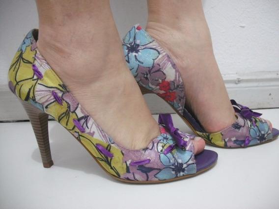 Sapato Peep Toe Colorido 39 Usado Bom Estado