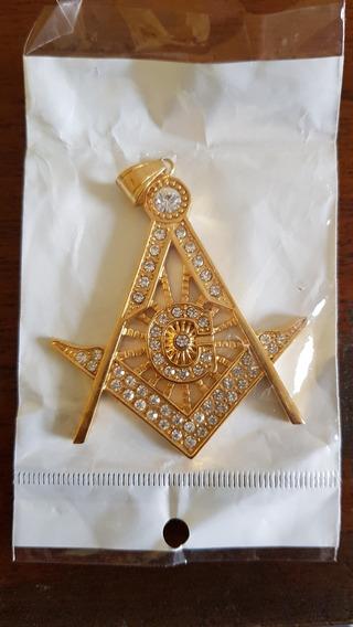 Corrente E Medalha Maçônica Folhada A Ouro