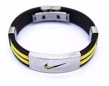 Bracelete Pulseira Nike Silicone Aço Inoxidável Varias Cores