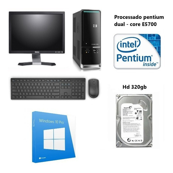 Kit Cpu Hp Com Monitor Da Dell 17 Wide Processador Dual-core