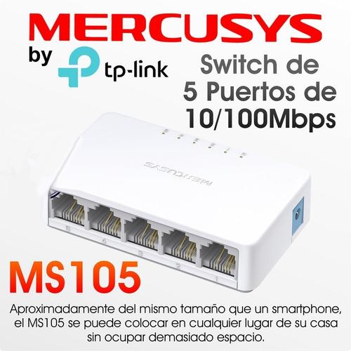 Mercusys Ms105, Switch De Escritorio De 5 Puertos 10/100mbps