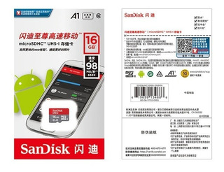 Tarjeta Micro Sd Sandisk A1 98 Mb/s Clase 10 Uhs-i 16gb