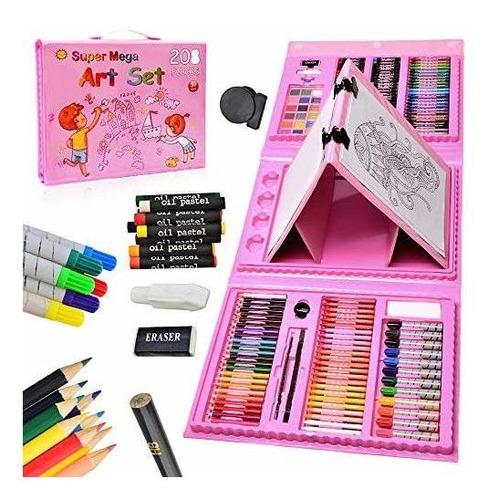 Kit Estuche 208pcs Niña Artista Educar Desarrollo Oleo Color
