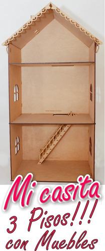 Casa Muñecas Barbie 3 Pisos Con Muebles Mdf 5mm Fibrofácil