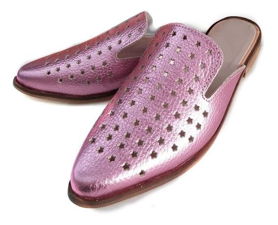 Zapato Mujer Zueco Calado Cuero Fucsia Metalizado Tempo 2020