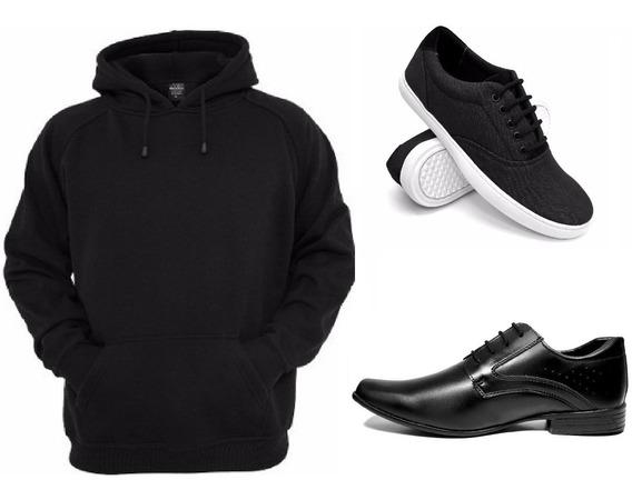 Blusa Moletom Kit Casual Sapato E Tenis Masculino Promoção