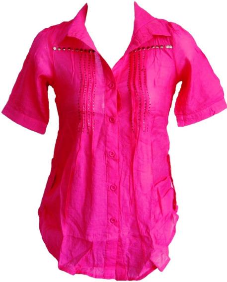 Blusas Algodon Para Niñas Manga Corta Unicolor