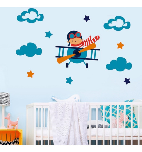 Vinilos Decorativos Infantil  Avion Estrellas Nubes