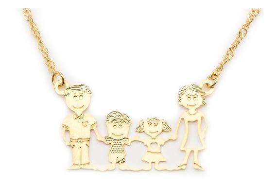 Colar Fino Pingente Família Casal Avano W-195 Folheado Ouro
