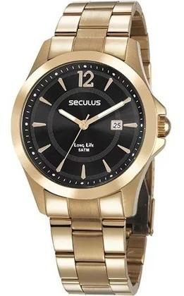 Relógio Seculus Masculino 28905gpsvda2 Casual Dourado