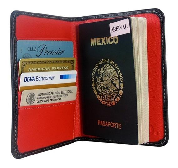 Set De Dos Porta Pasaporte Piel Funda Documentos Organizador