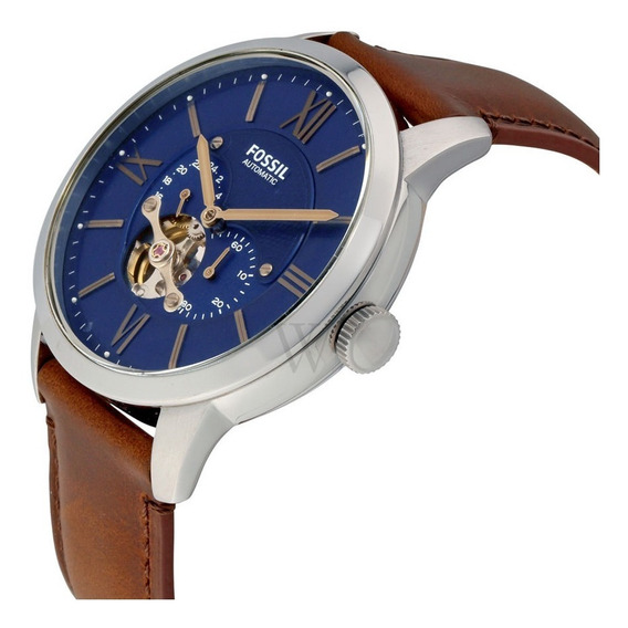 Relógio Fóssil Townsman Automático Azul Satin Dial-me3110
