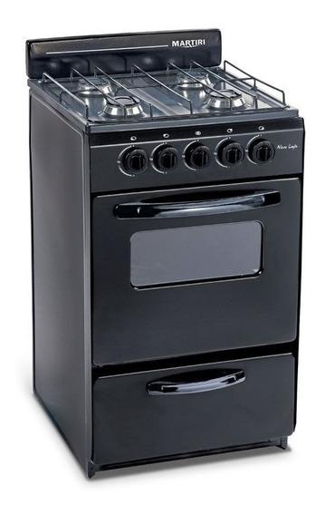 Cocina Martiri New Lujo Black 4 Hornallas, 51cm Gas Envasado