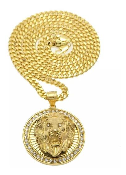 Corrente 70cm + Pingente Cravejada Ouro Hip Hop Lxbr Bl35