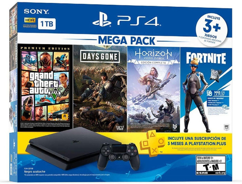 Imagen 1 de 1 de Playstation Ps4 + 4 Juegos + 2 Controles + 1tb- Promo 2021